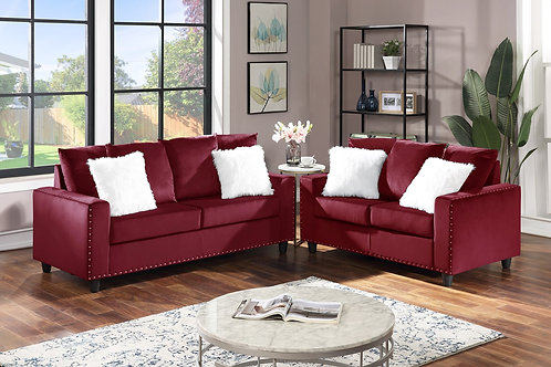 Cinderella Red 2-PC Sofa and Loveseat