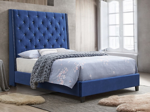 Chantilly Blue Upholstered Bed