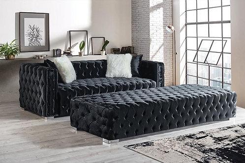 Perla Black Velvet Sofa & Ottoman Set
