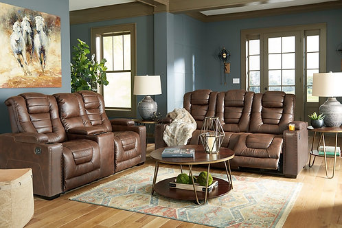 Ashley Saddle Brown 2-PC Reclining Set