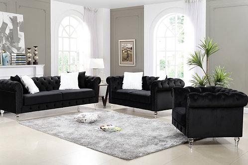 Manchester 3-PC Black Velvet Sofa Loveseat Chair Set