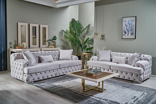 Shannon White Velvet Sofa & Loveseat