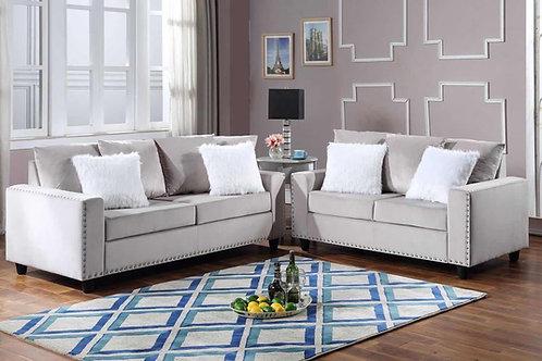 Cinderella Grey 2-PC Sofa and Loveseat