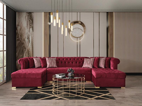 Lauren Maroon Velvet Sectional