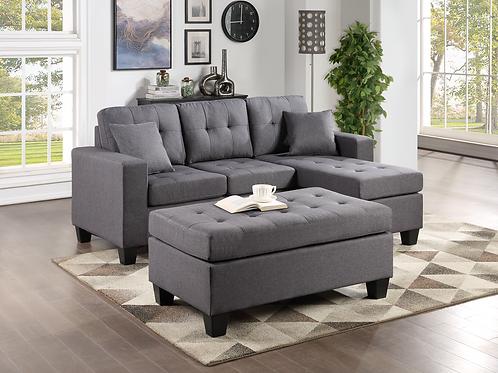 Naomi Linen Sectional Sofa w/ Ottoman