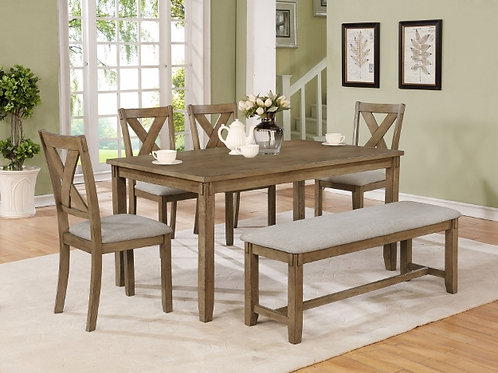 Clara 6-Piece Table and Chair Set with Bench