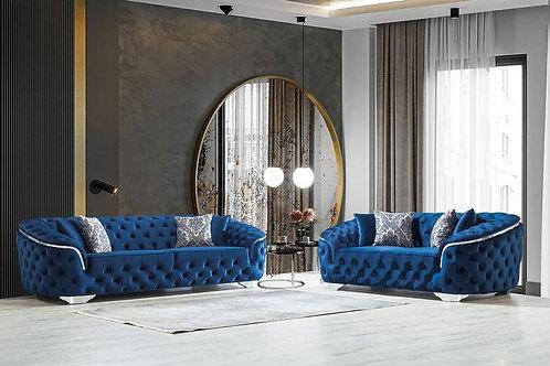Lupino Blue Velvet 2-PC Sofa and Loveseat
