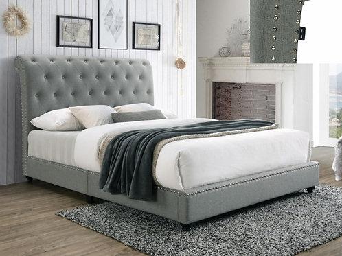 Janine Grey Upholstered Platform Bed w/ USB Outlet