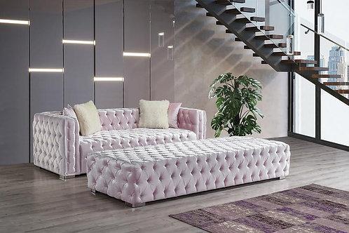 Perla Pink Velvet Sofa & Ottoman Set