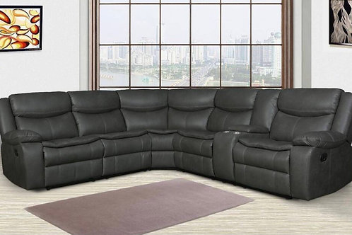 Larry Gray Leather Motion Sectional