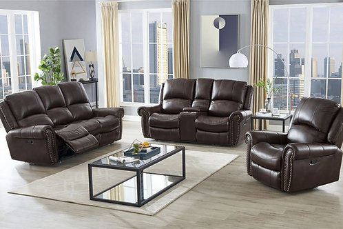 Italia Top Grain Brown Leather Reclining Set