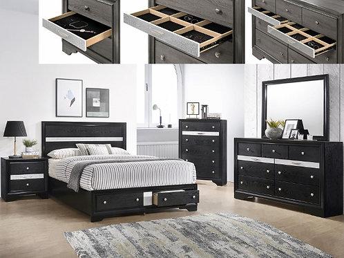 Regata Black/Silver Bedroom Suite