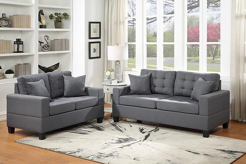 Hampton Grey 2-PC Sofa and Loveseat Set