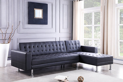 Bobby Black 2-PC Sectional Sofa Chaise