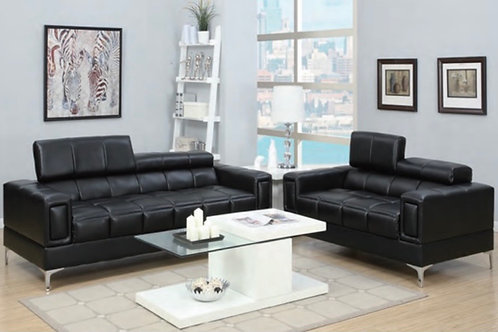 Poundex Black 2-PC Sofa and Loveseat