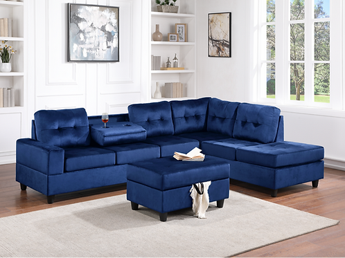 Velvet Heights Sectional w/ Storage Ottoman and Cupholder