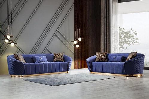 Aster Blue Velvet Sofa & Loveseat