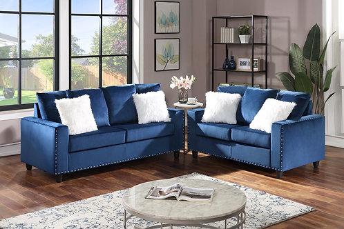 Cinderella Blue2-PC Sofa and Loveseat