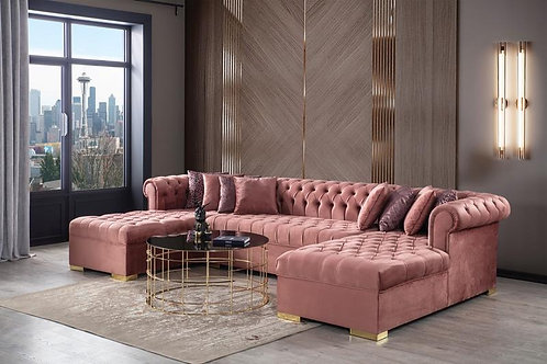 Lauren Pink Velvet Sectioal Sofa