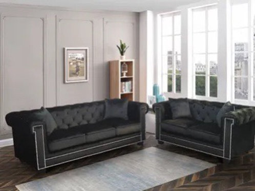 Mercury Black 2-PC Sofa and Loveseat