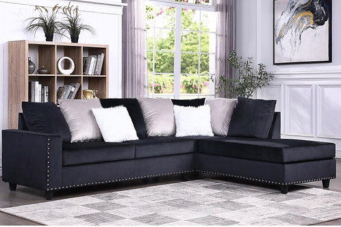 Cindy Black Reversible Sectional