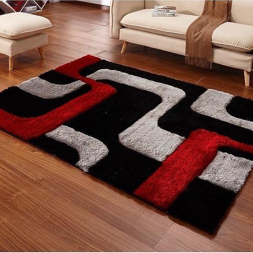 Crown Shag 3D Red/Black Area Rug