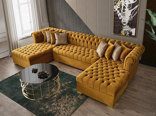 Lauren Mustard Velvet Sectional