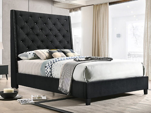 Chantilly Black Upholstered Bed