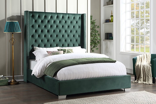 Emily Green Upholstered Tufted Bed