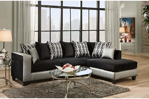 Silverstein Black and Silver Sectional