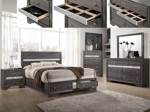 Regata Grey/Silver Bedroom Suite