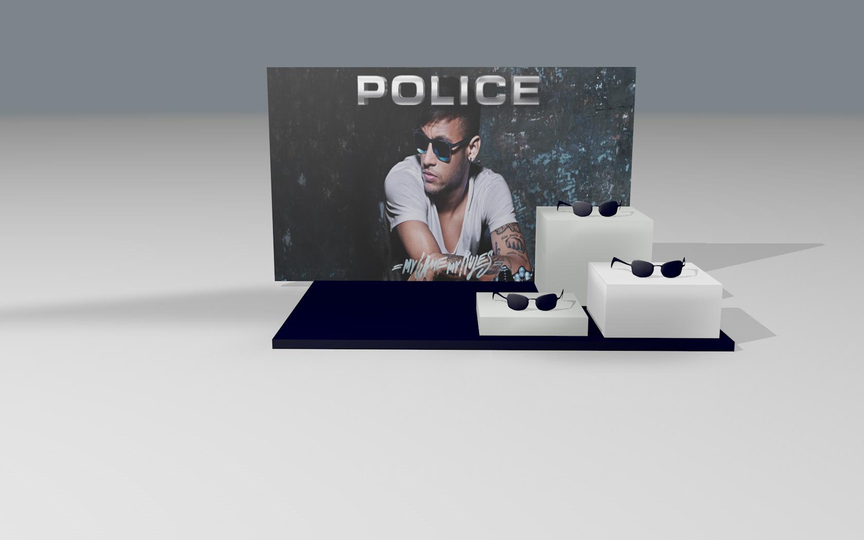 Expositor de montra Police