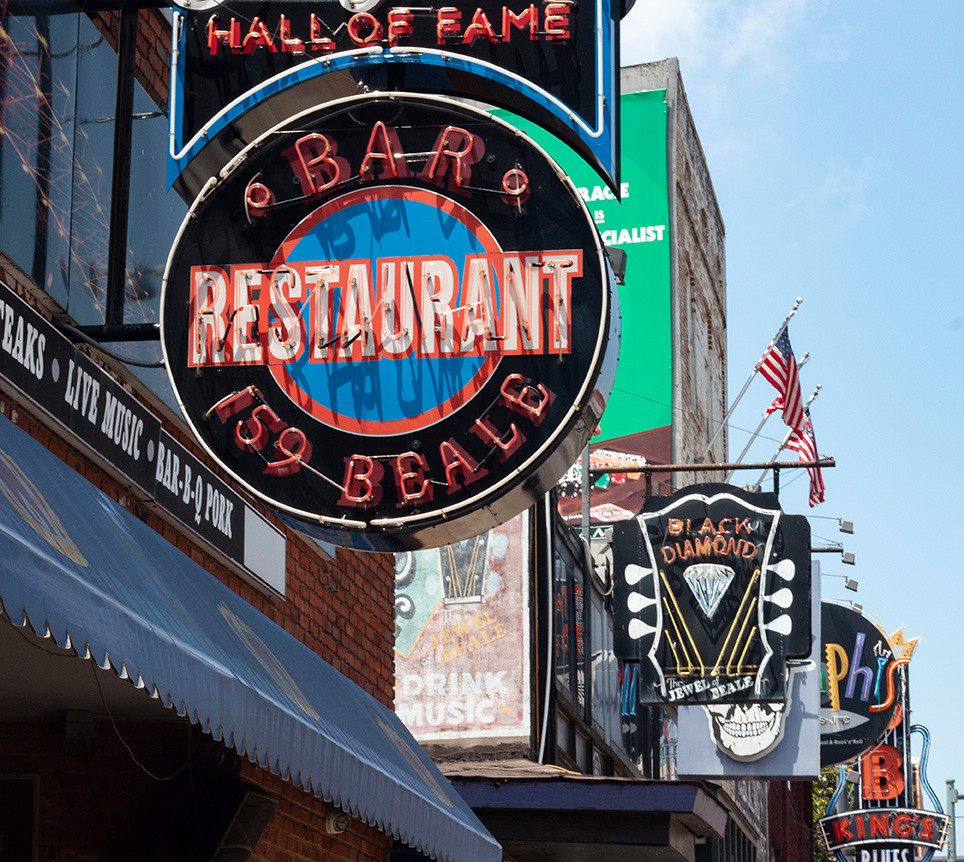 Beale Street Restaurant Signs, May 2019