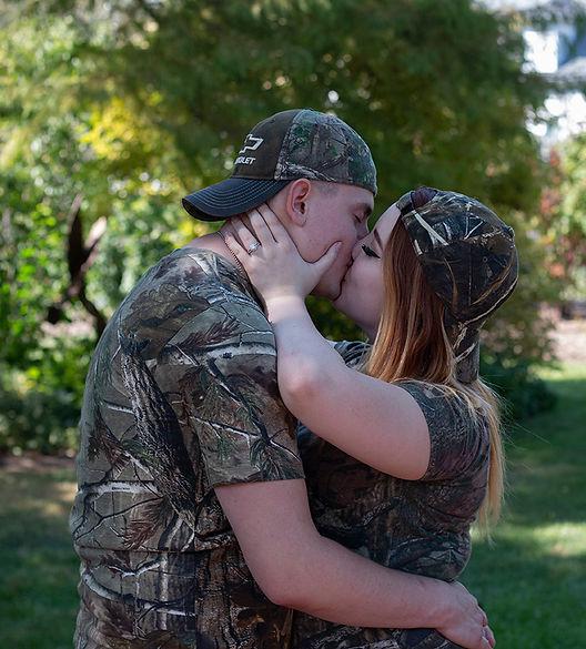 A couple sharing a kiss