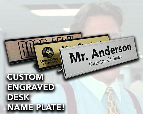 Desk Name Plate With Anodized Aluminum Holder