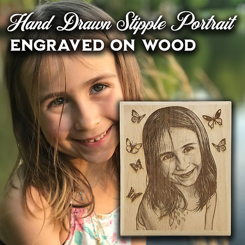 "Hand Drawn Engraved Portrait On Alder Wood Plaque 6""X8"""