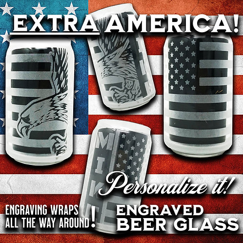 USA Patriotic America Personalized Libbey Beer Glass