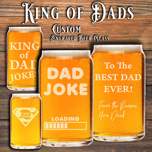 Engraved Fathers Day Beer Can Shaped Glass