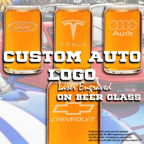 Personalized Beer Glass With Auto Logo and Custom Engraving