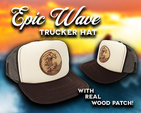 EPIC WAVE ADULT TRUCKER HAT WITH WOOD PATCH