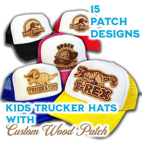 Kids Trucker Hat With Fun Real Wood Patch!