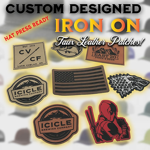 Custom Made Faux Leather Patches _Heat  Press Ready With Adhesive Backing