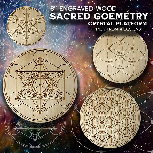 """8"""" Engraved Wood Sacred Geometry Crystal Platform"""