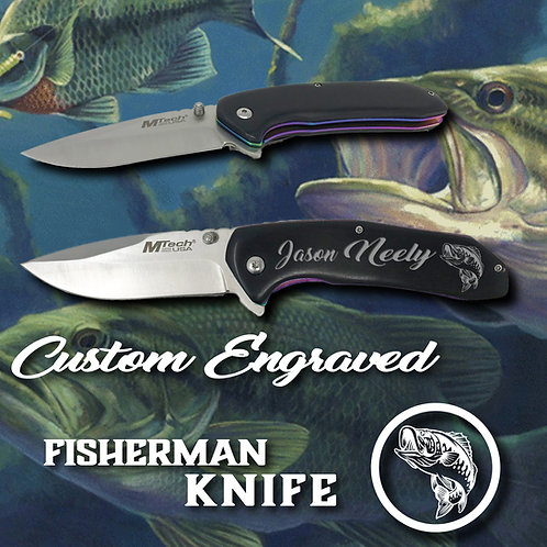 Bass Fisherman Pocket Knife _Custom Engraved