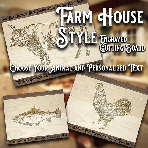 Farm House Style Engraved Cutting Board, Custom Cutting Board, Anniversary Gift
