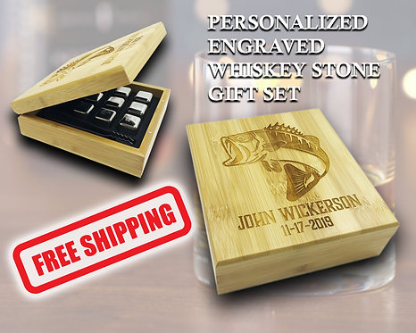Personalized Whiskey Stones Gift Set
