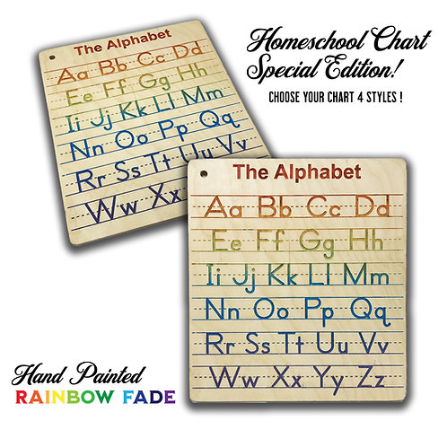 Engraved Homeschool Chart Special Color Edition Your Choice