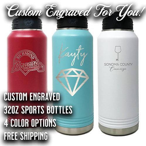 32oz Custom Engraved Sports Bottle