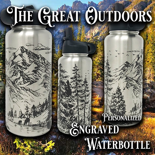 32oz Custom Engraved Water Bottle | The Great Outdoors Theme