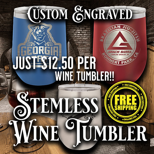 12oz Vacuum Insulated  Stemless Wine Tumblers Case Of 24